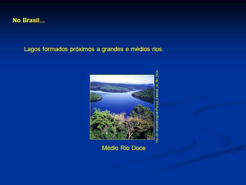 No Brasil... Lagos formados próximos a grandes e médios rios. Médio Rio Doce http://pt.wikipedia.org/wiki/Parque_Estadual_do_Rio_Doce