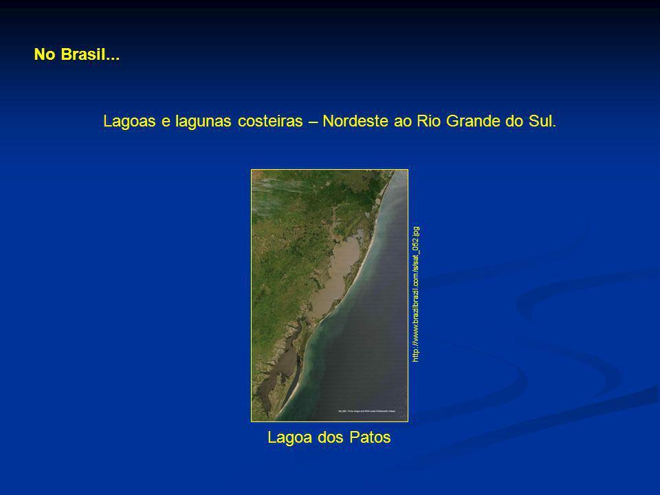 No Brasil... Lagoas e lagunas costeiras – Nordeste ao Rio Grande do Sul. Lagoa dos Patos http://www.brazilbrazil.com/s/sat_052.jpg
