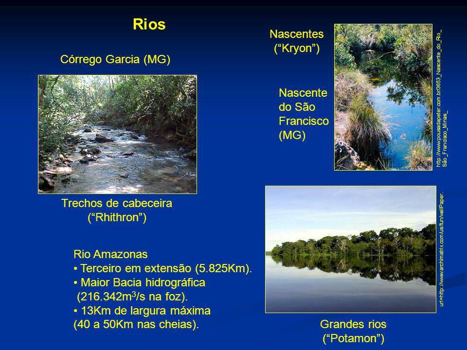 Rios Trechos de cabeceira (Rhithron) Grandes rios (Potamon) Nascentes (Kryon) http://www.pousadapeter.com.br/3653_Nascente_do_Rio_ São_Francisco_Minas