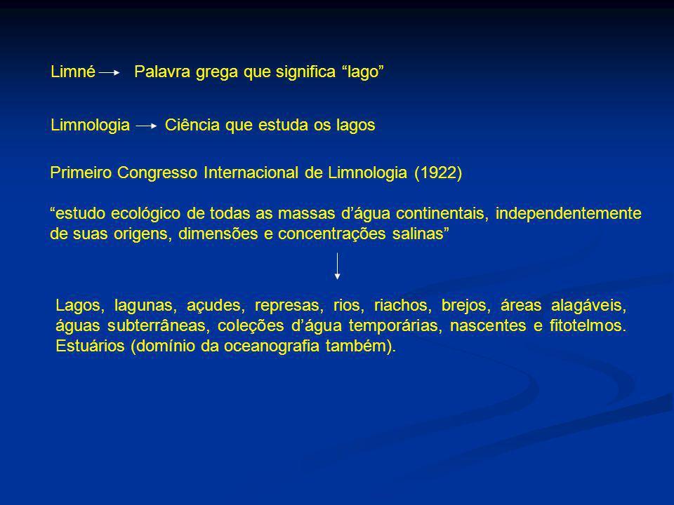 Limné Palavra grega que significa lago Limnologia Ciência que estuda os lagos Primeiro Congresso Internacional de Limnologia (1922) estudo ecológico d