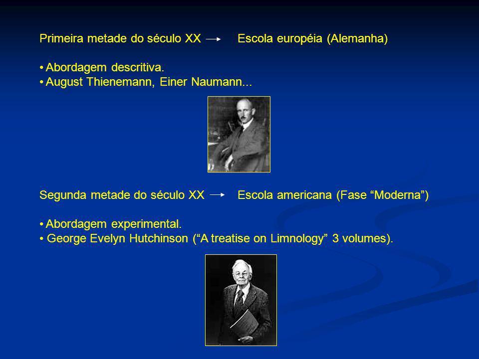 Primeira metade do século XX Escola européia (Alemanha) Abordagem descritiva. August Thienemann, Einer Naumann... Segunda metade do século XX Escola a
