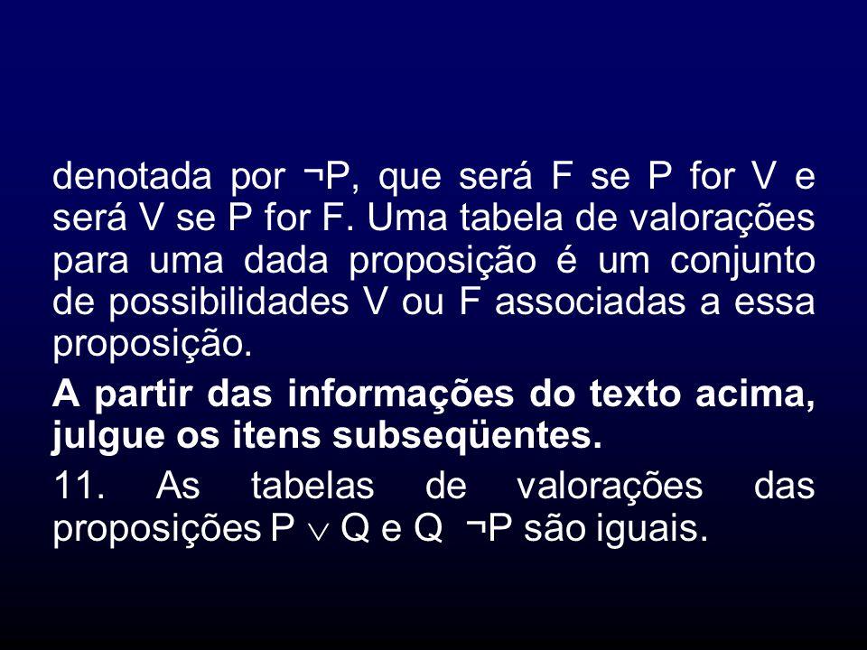 denotada por ¬P, que será F se P for V e será V se P for F. Uma tabela de valorações para uma dada proposição é um conjunto de possibilidades V ou F a