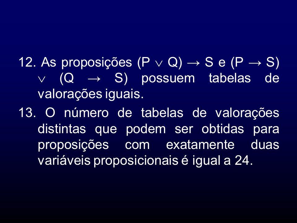 12. As proposições (P Q) S e (P S) (Q S) possuem tabelas de valorações iguais. 13. O número de tabelas de valorações distintas que podem ser obtidas p