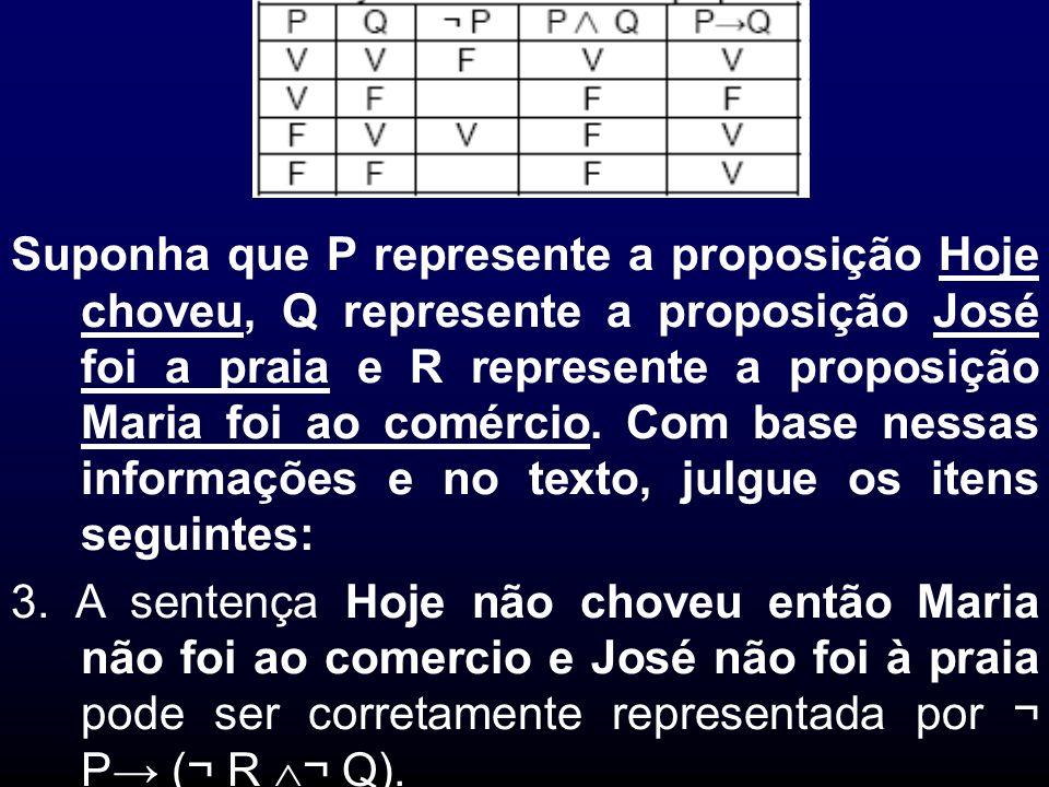 Suponha que P represente a proposição Hoje choveu, Q represente a proposição José foi a praia e R represente a proposição Maria foi ao comércio. Com b