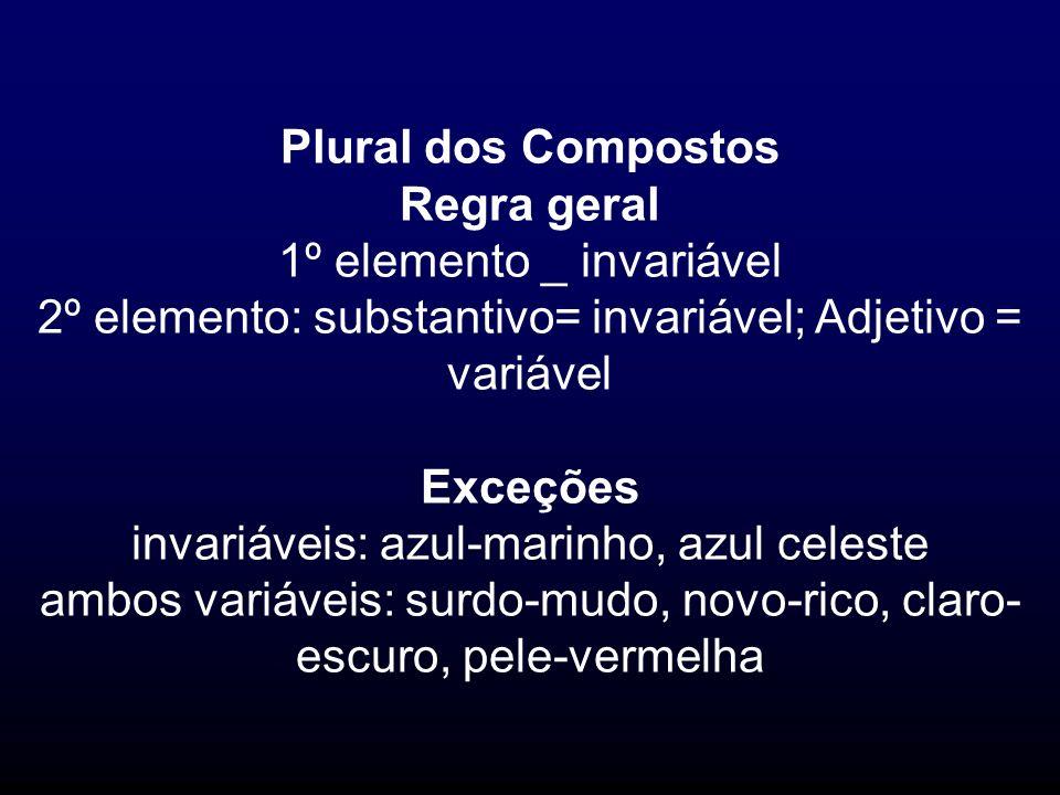 Plural dos Compostos Regra geral 1º elemento _ invariável 2º elemento: substantivo= invariável; Adjetivo = variável Exceções invariáveis: azul-marinho