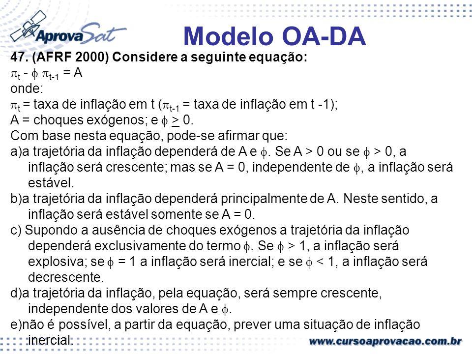 47. (AFRF 2000) Considere a seguinte equação: t - t-1 = A onde: t = taxa de inflação em t ( t-1 = taxa de inflação em t -1); A = choques exógenos; e >