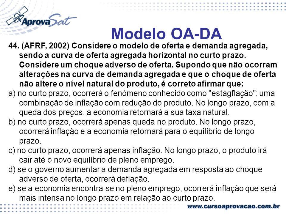 44. (AFRF, 2002) Considere o modelo de oferta e demanda agregada, sendo a curva de oferta agregada horizontal no curto prazo. Considere um choque adve