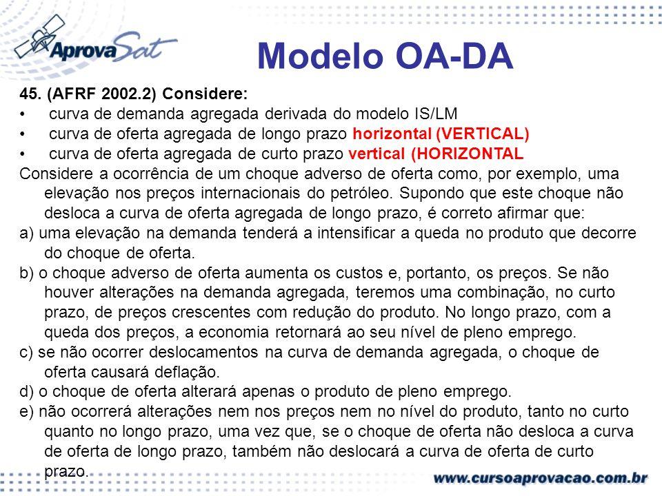 45. (AFRF 2002.2) Considere: curva de demanda agregada derivada do modelo IS/LM curva de oferta agregada de longo prazo horizontal (VERTICAL) curva de