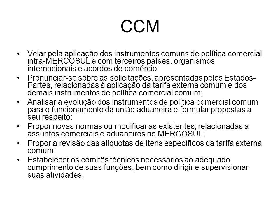 CCM Velar pela aplicação dos instrumentos comuns de política comercial intra-MERCOSUL e com terceiros países, organismos internacionais e acordos de c