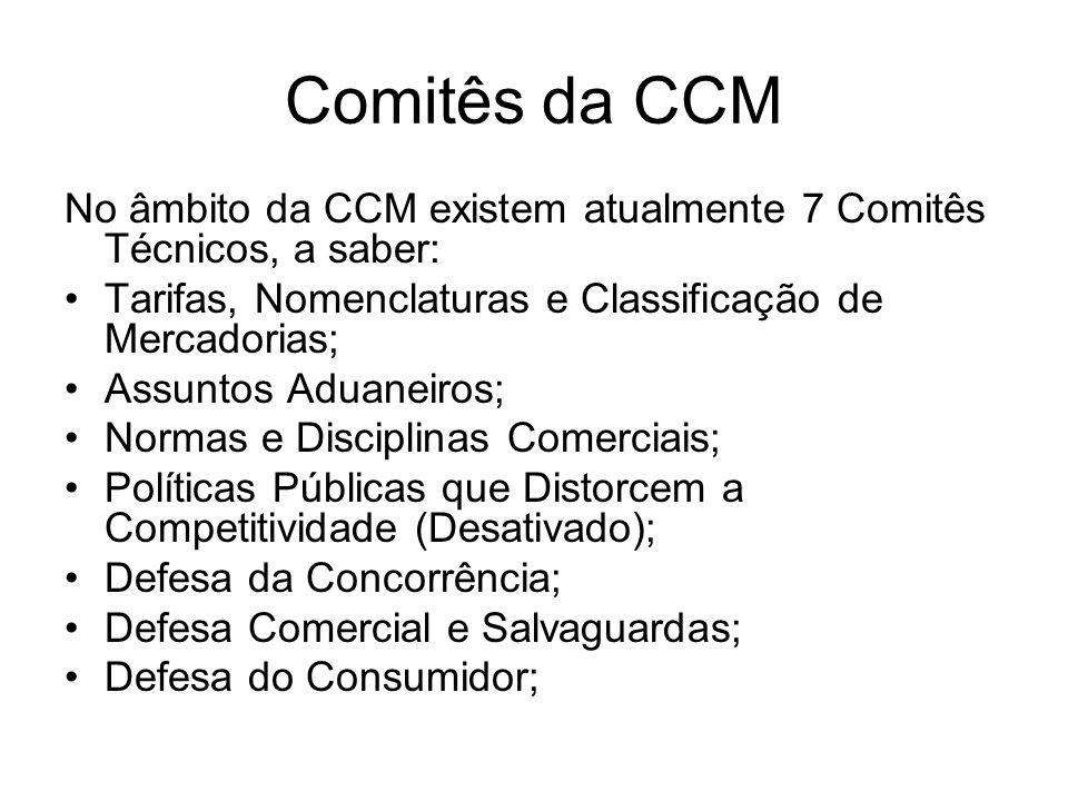 Comitês da CCM No âmbito da CCM existem atualmente 7 Comitês Técnicos, a saber: Tarifas, Nomenclaturas e Classificação de Mercadorias; Assuntos Aduane