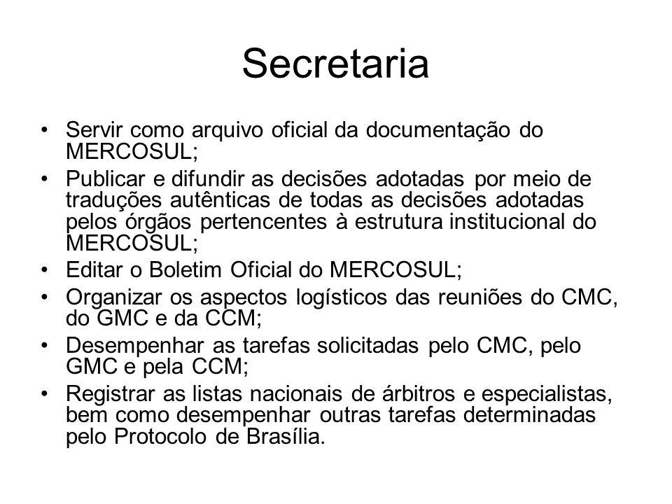 Secretaria Servir como arquivo oficial da documentação do MERCOSUL; Publicar e difundir as decisões adotadas por meio de traduções autênticas de todas