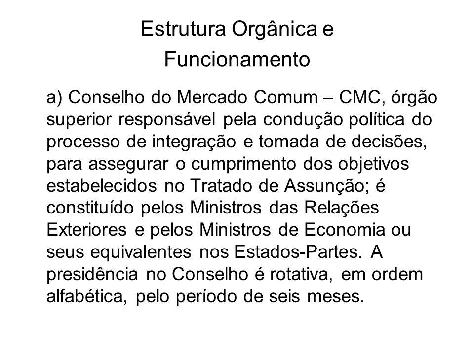 CMC O CMC tem as seguintes atribuições: Velar pelo cumprimento do Tratado de Assunção, de seus Protocolos e dos Acordos firmados no seu âmbito; Formular políticas e promover ações necessárias à conformação do mercado comum; Exercer a titularidade da personalidade jurídica do MERCOSUL; Negociar e firmar acordos com terceiros países, em nome do MERCOSUL; Manifestar-se sobre as propostas encaminhadas pelo GMC; Criar reuniões de ministros e outros órgãos, que estime pertinentes, e pronunciar-se sobre os acordos que lhe são submetidos; Designar o Diretor da Secretaria Administrativa do MERCOSUL; Adotar decisões em matéria financeira e orçamentária.