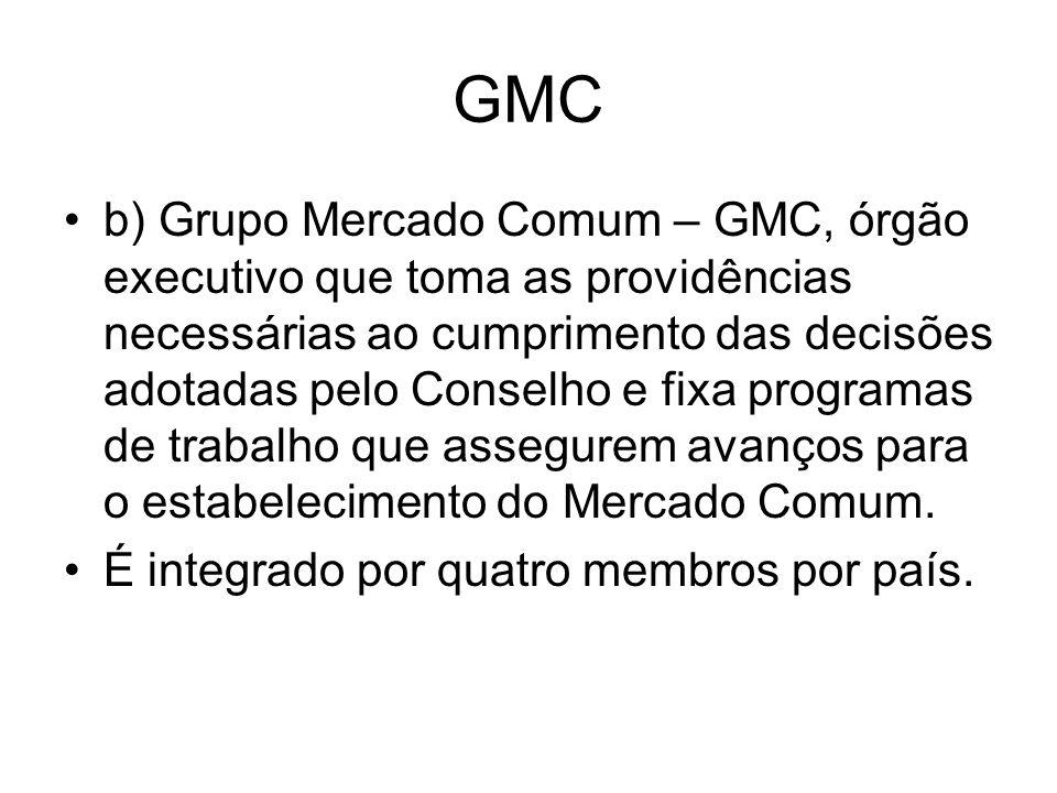 GMC b) Grupo Mercado Comum – GMC, órgão executivo que toma as providências necessárias ao cumprimento das decisões adotadas pelo Conselho e fixa progr