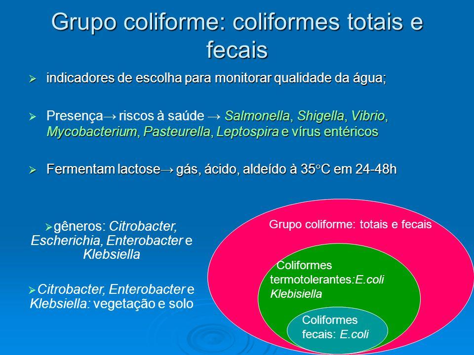 Coliformes fecais Sub-grupo: coliformes totais Escherichia coli Contaminação fecal oriundas de animais de sangue quente Metodologia: temperatura de 44,5 + 0.2°C, fator seletivo (termotolerantes) Enzimas específicas Escherichia coli