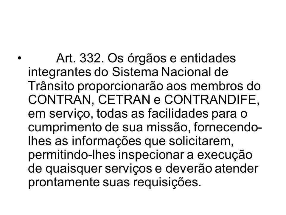 Art. 332. Os órgãos e entidades integrantes do Sistema Nacional de Trânsito proporcionarão aos membros do CONTRAN, CETRAN e CONTRANDIFE, em serviço, t