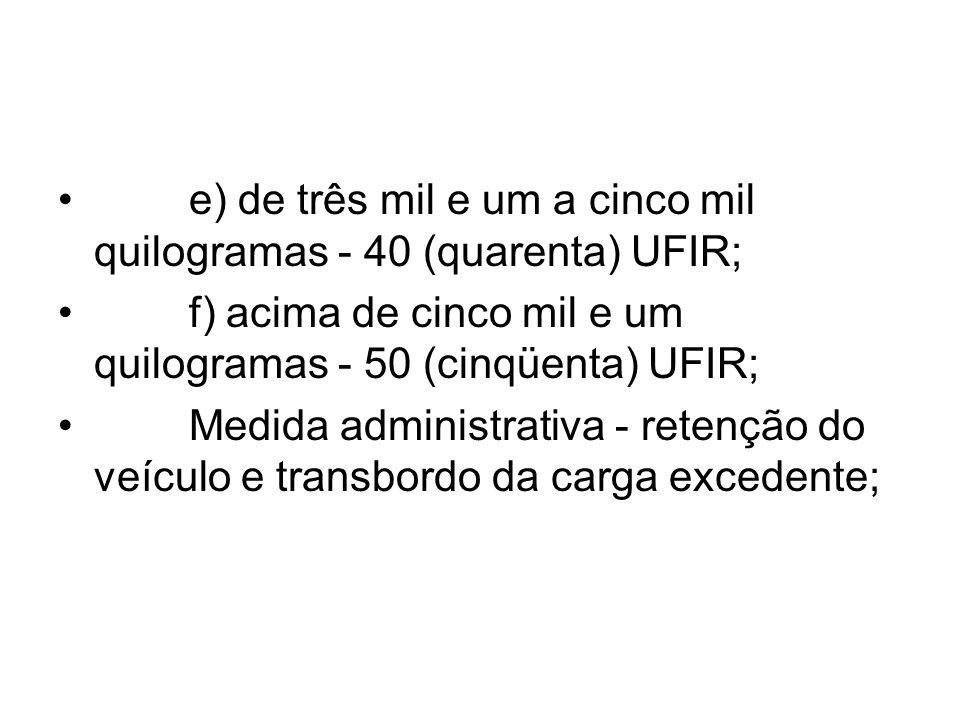 e) de três mil e um a cinco mil quilogramas - 40 (quarenta) UFIR; f) acima de cinco mil e um quilogramas - 50 (cinqüenta) UFIR; Medida administrativa