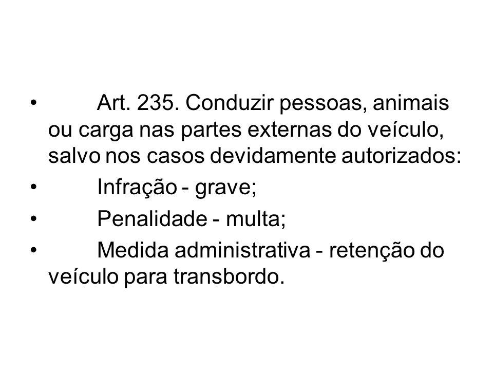 Art. 235. Conduzir pessoas, animais ou carga nas partes externas do veículo, salvo nos casos devidamente autorizados: Infração - grave; Penalidade - m