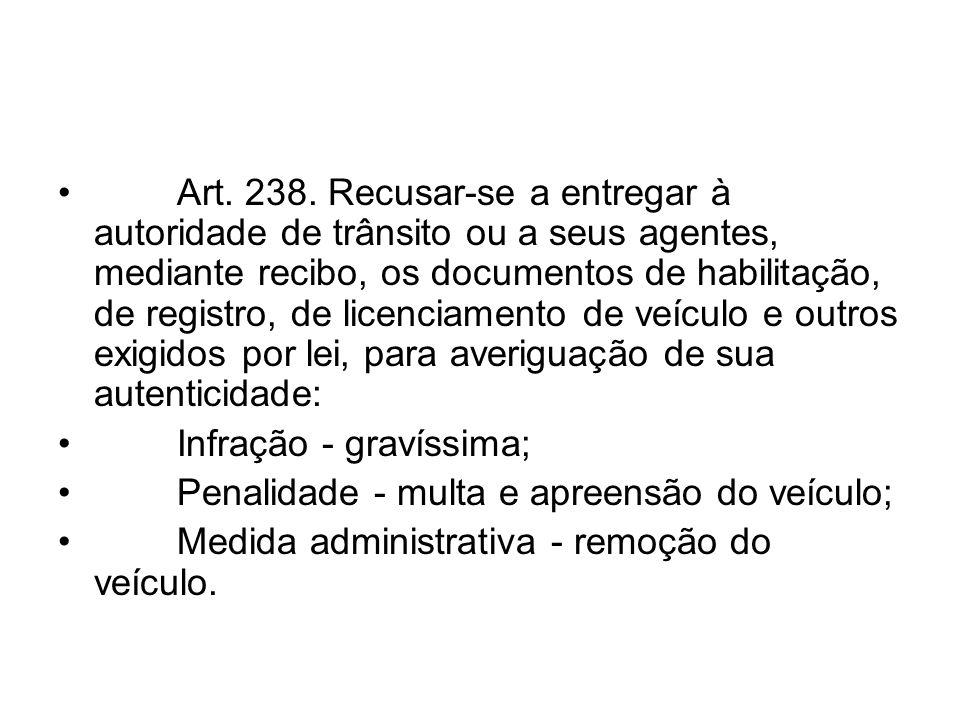 Art. 238. Recusar-se a entregar à autoridade de trânsito ou a seus agentes, mediante recibo, os documentos de habilitação, de registro, de licenciamen