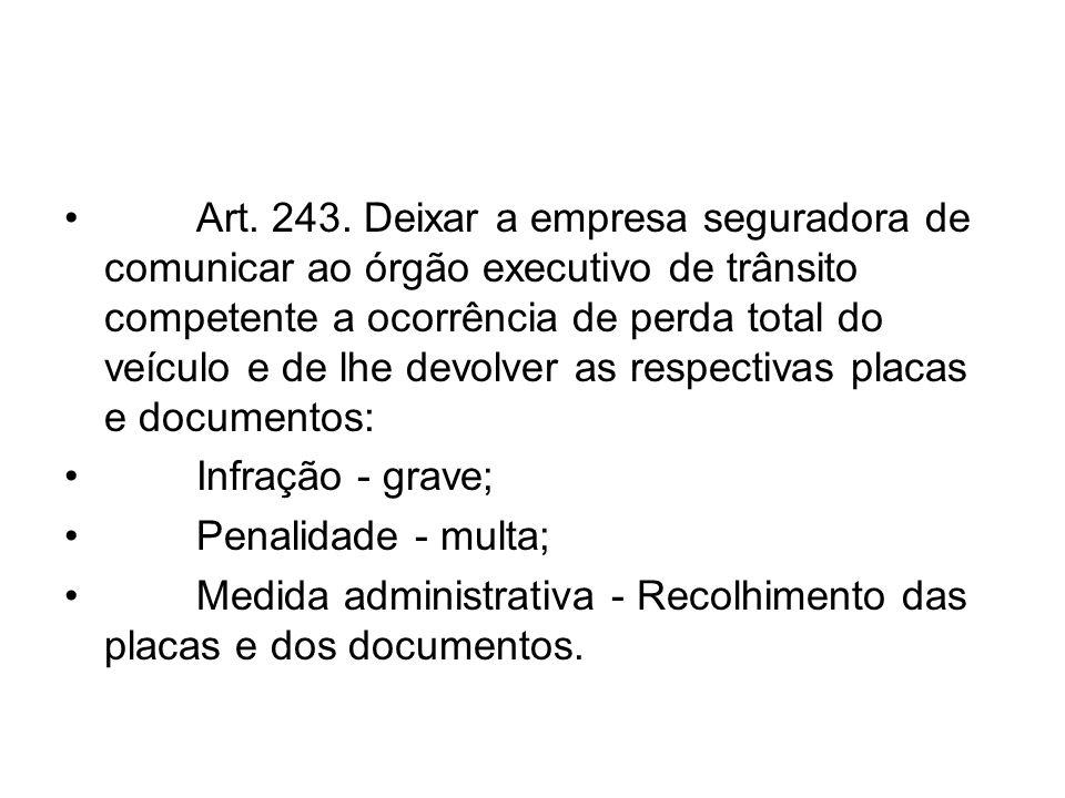 Art. 243. Deixar a empresa seguradora de comunicar ao órgão executivo de trânsito competente a ocorrência de perda total do veículo e de lhe devolver