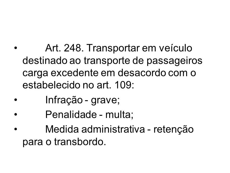 Art. 248. Transportar em veículo destinado ao transporte de passageiros carga excedente em desacordo com o estabelecido no art. 109: Infração - grave;