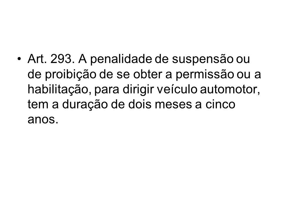 Art. 293. A penalidade de suspensão ou de proibição de se obter a permissão ou a habilitação, para dirigir veículo automotor, tem a duração de dois me