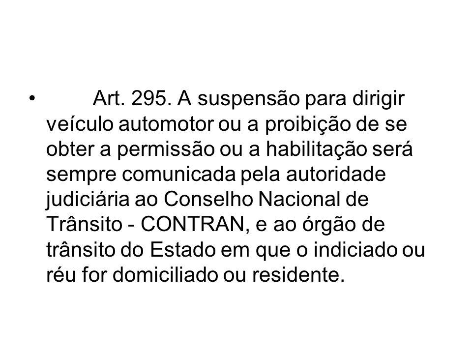 Art. 295. A suspensão para dirigir veículo automotor ou a proibição de se obter a permissão ou a habilitação será sempre comunicada pela autoridade ju