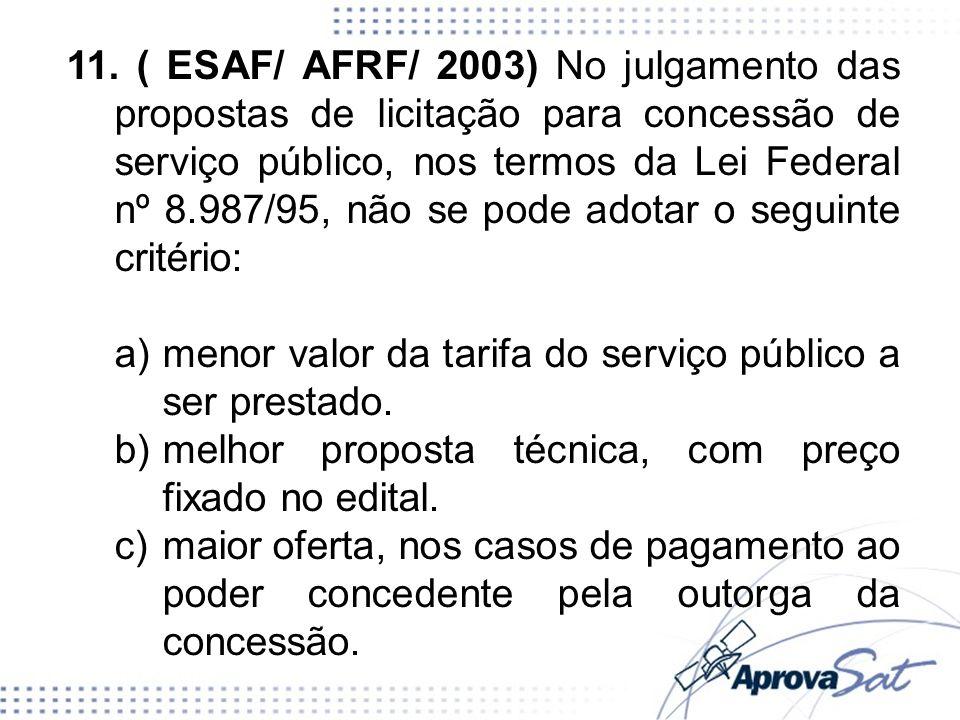 11. ( ESAF/ AFRF/ 2003) No julgamento das propostas de licitação para concessão de serviço público, nos termos da Lei Federal nº 8.987/95, não se pode