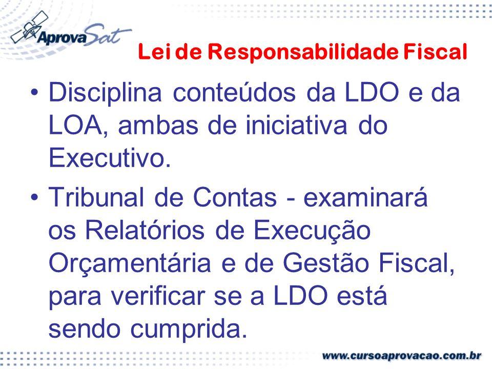 Lei de Responsabilidade Fiscal Disciplina conteúdos da LDO e da LOA, ambas de iniciativa do Executivo.