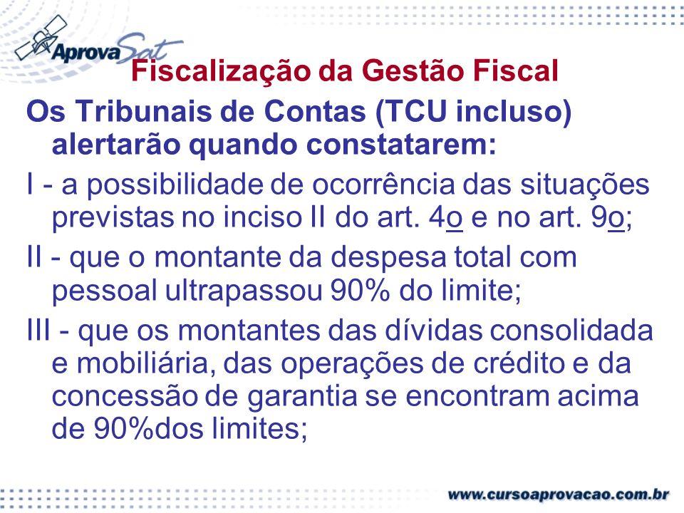Fiscalização da Gestão Fiscal Os Tribunais de Contas (TCU incluso) alertarão quando constatarem: I - a possibilidade de ocorrência das situações previstas no inciso II do art.