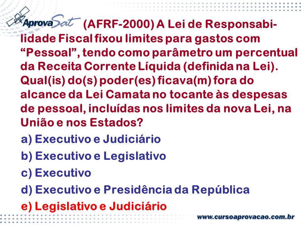 (AFRF-2000) A Lei de Responsabi- lidade Fiscal fixou limites para gastos com Pessoal, tendo como parâmetro um percentual da Receita Corrente Líquida (definida na Lei).