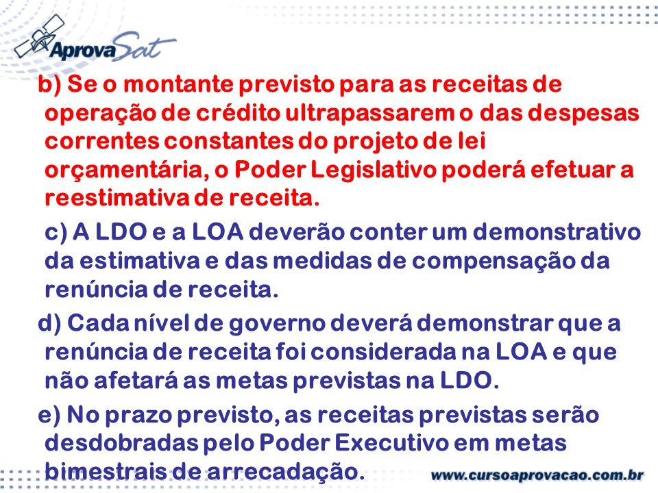 b) Se o montante previsto para as receitas de operação de crédito ultrapassarem o das despesas correntes constantes do projeto de lei orçamentária, o Poder Legislativo poderá efetuar a reestimativa de receita.