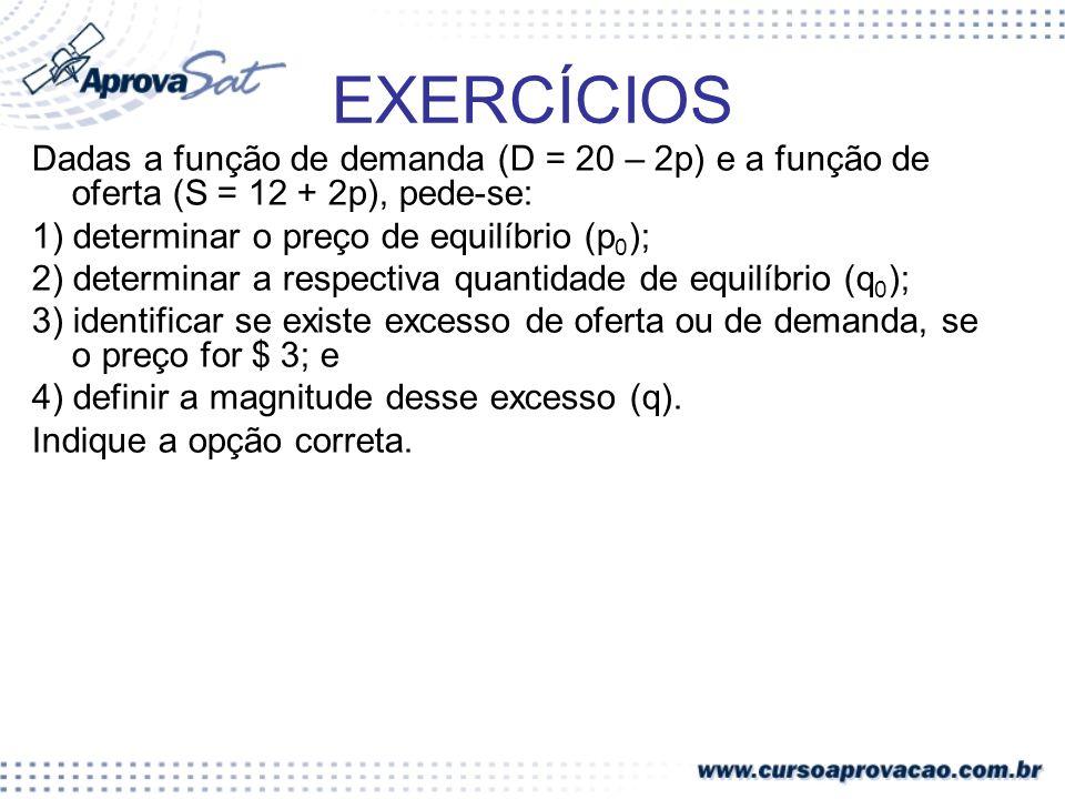 EXERCÍCIOS Dadas a função de demanda (D = 20 – 2p) e a função de oferta (S = 12 + 2p), pede-se: 1) determinar o preço de equilíbrio (p 0 ); 2) determi