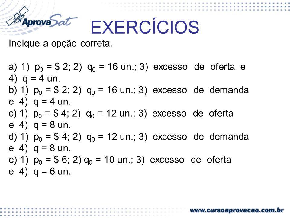EXERCÍCIOS Indique a opção correta. a)1) p 0 = $ 2; 2) q 0 = 16 un.; 3) excesso de oferta e 4) q = 4 un. b) 1) p 0 = $ 2; 2) q 0 = 16 un.; 3) excesso