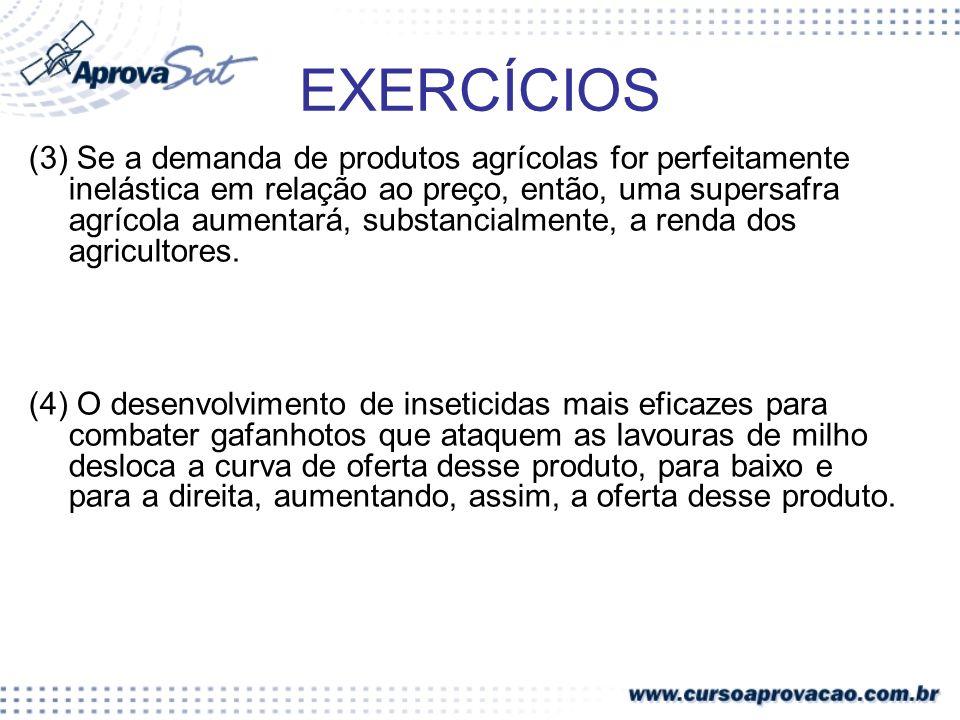 EXERCÍCIOS (3) Se a demanda de produtos agrícolas for perfeitamente inelástica em relação ao preço, então, uma supersafra agrícola aumentará, substanc