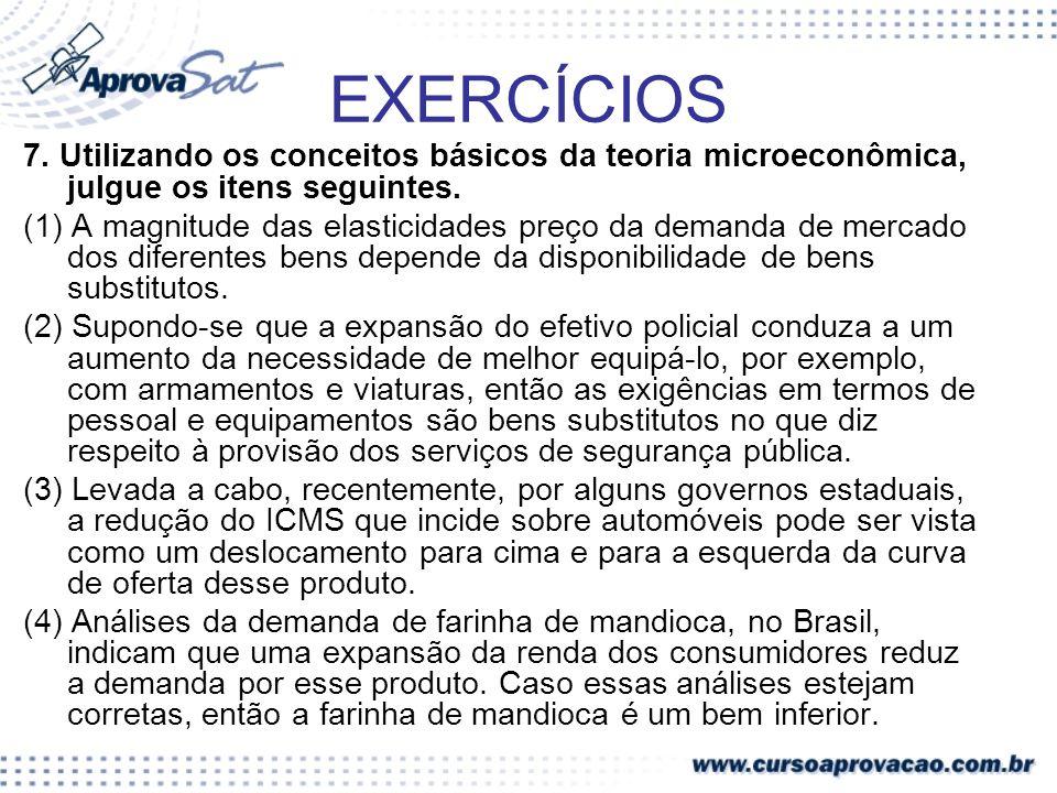 EXERCÍCIOS 7. Utilizando os conceitos básicos da teoria microeconômica, julgue os itens seguintes. (1) A magnitude das elasticidades preço da demanda