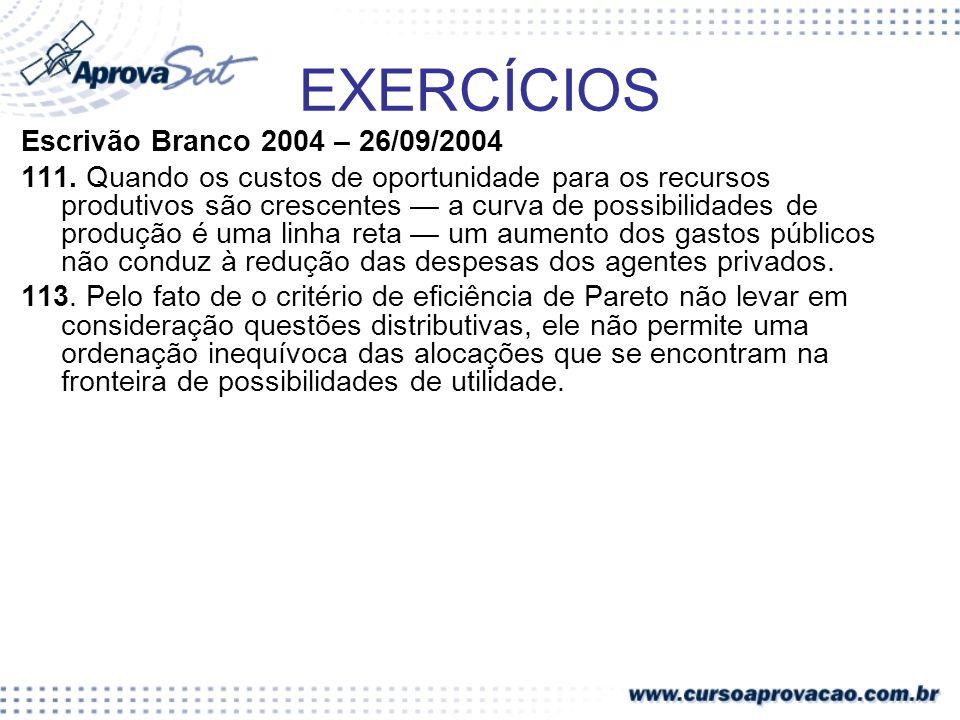 EXERCÍCIOS Escrivão Branco 2004 – 26/09/2004 111. Quando os custos de oportunidade para os recursos produtivos são crescentes a curva de possibilidade