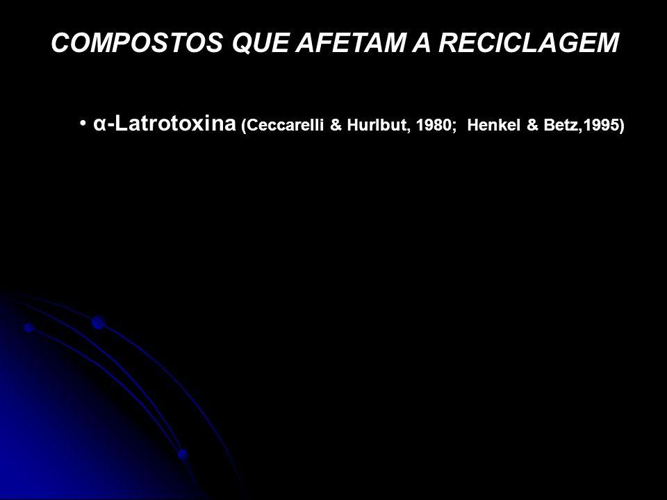 COMPOSTOS QUE AFETAM A RECICLAGEM α-Latrotoxina (Ceccarelli & Hurlbut, 1980; Henkel & Betz,1995)