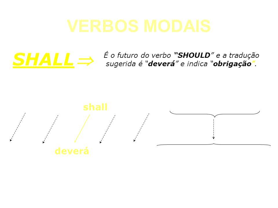 VERBOS MODAIS CAN É o futuro do verbo SHOULD e a tradução sugerida é deverá e indica obrigação. SHALL The machine shall be lubricated every other week