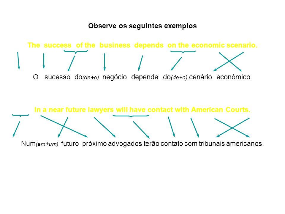 Observe os seguintes exemplos The success of the business depends on the economic scenario. O sucesso do (de+o) negócio depende do (de+o) cenário econ