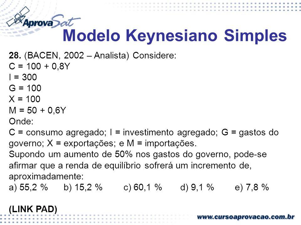 28. (BACEN, 2002 – Analista) Considere: C = 100 + 0,8Y I = 300 G = 100 X = 100 M = 50 + 0,6Y Onde: C = consumo agregado; I = investimento agregado; G