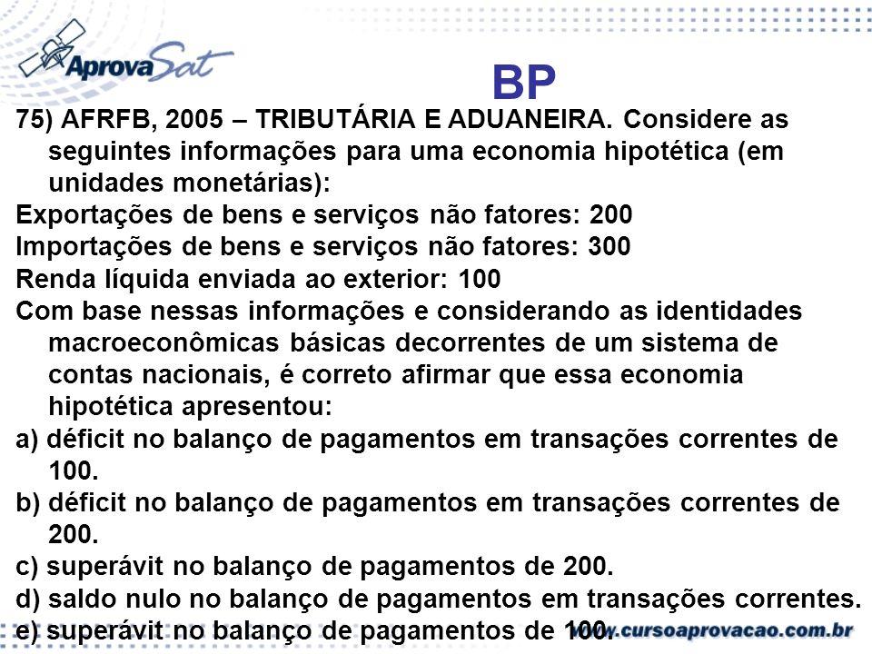 BP 75) AFRFB, 2005 – TRIBUTÁRIA E ADUANEIRA. Considere as seguintes informações para uma economia hipotética (em unidades monetárias): Exportações de