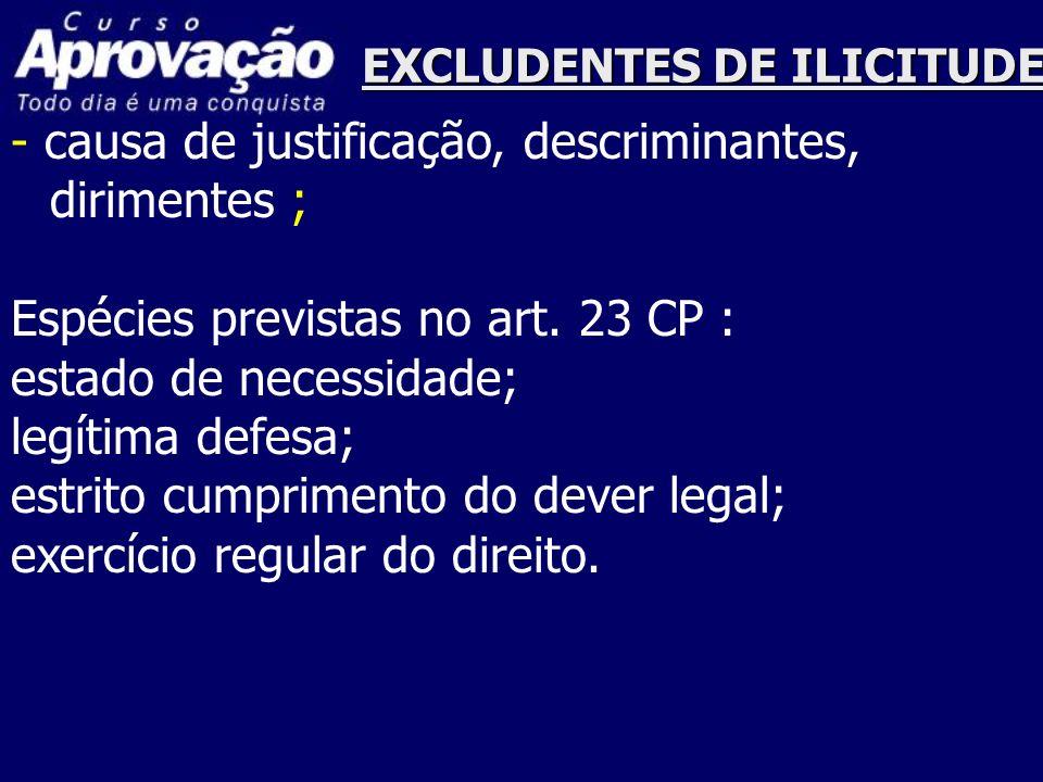 EXCLUDENTES DE ILICITUDE - causa de justificação, descriminantes, dirimentes ; Espécies previstas no art. 23 CP : estado de necessidade; legítima defe