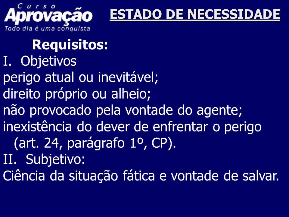 LEGITIMA DEFESA Requisitos: Objetivos: agressão injusta, atual ou iminente; direito próprio ou alheio; meios necessários, empregados com moderação.