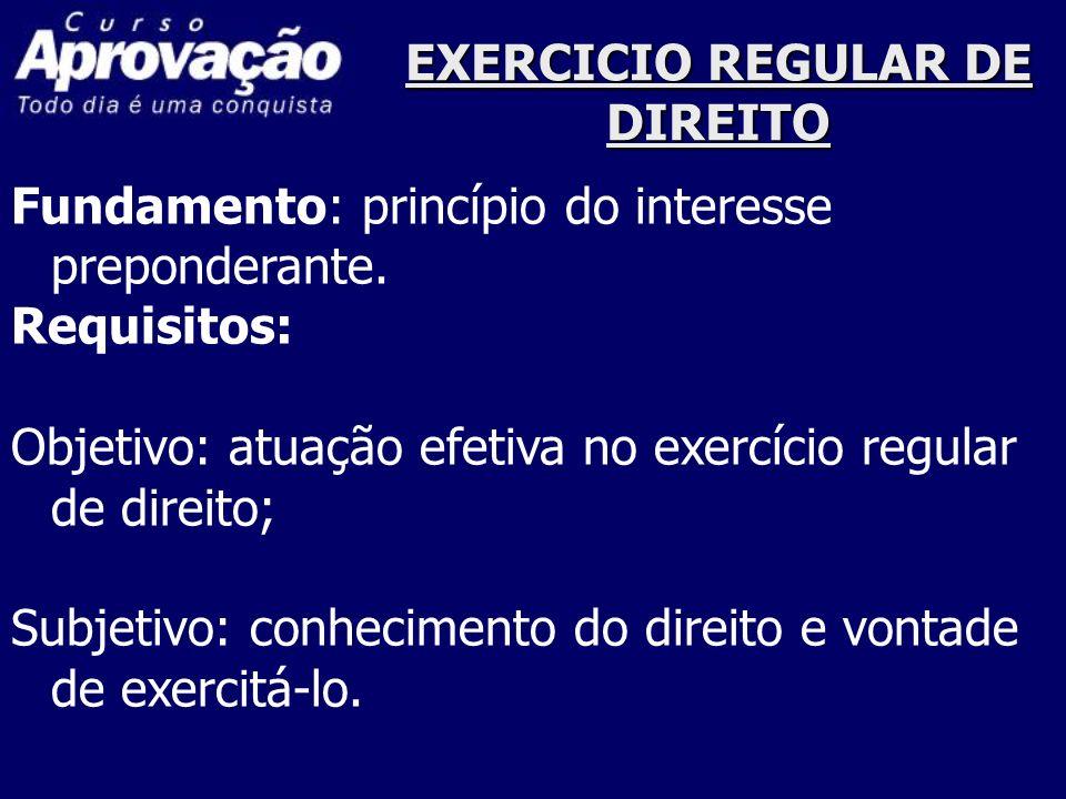 EXERCICIO REGULAR DE DIREITO Fundamento: princípio do interesse preponderante. Requisitos: Objetivo: atuação efetiva no exercício regular de direito;