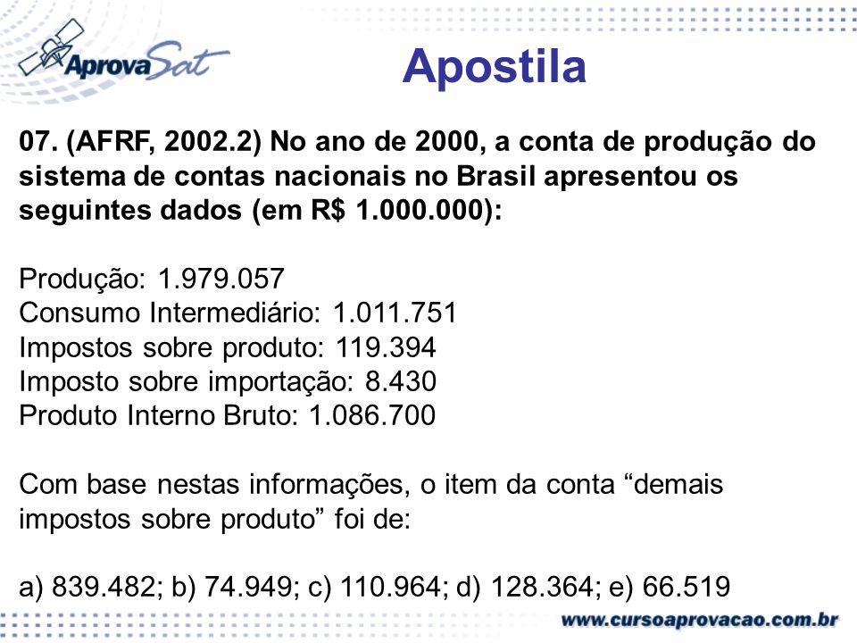 07. (AFRF, 2002.2) No ano de 2000, a conta de produção do sistema de contas nacionais no Brasil apresentou os seguintes dados (em R$ 1.000.000): Produ