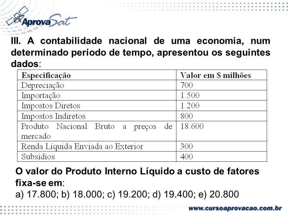 SISTEMA DE CONTAS NACIONAIS III. A contabilidade nacional de uma economia, num determinado período de tempo, apresentou os seguintes dados: O valor do