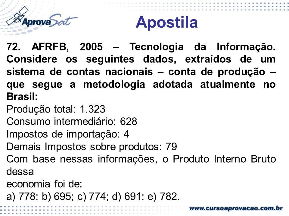 72. AFRFB, 2005 – Tecnologia da Informação. Considere os seguintes dados, extraídos de um sistema de contas nacionais – conta de produção – que segue