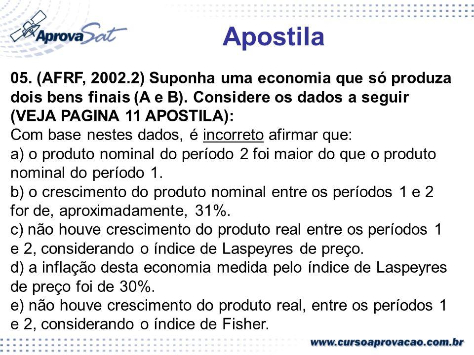 05. (AFRF, 2002.2) Suponha uma economia que só produza dois bens finais (A e B). Considere os dados a seguir (VEJA PAGINA 11 APOSTILA): Com base neste