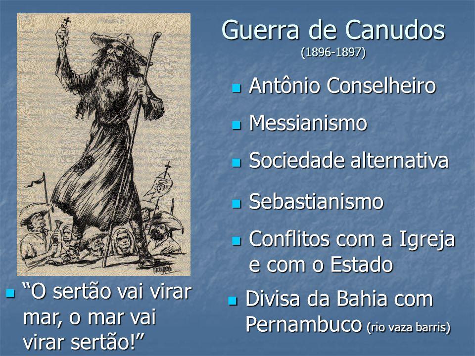 Guerra de Canudos (1896-1897) Antônio Conselheiro Antônio Conselheiro Messianismo Messianismo Sociedade alternativa Sociedade alternativa Sebastianism