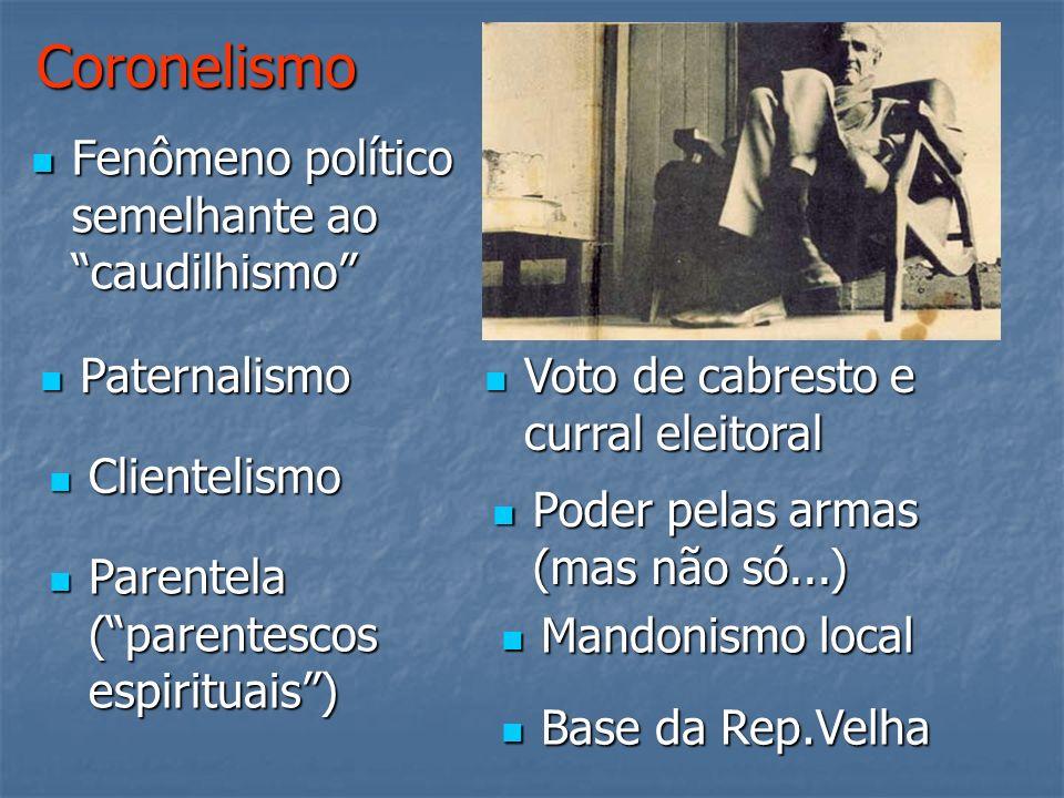 Coronelismo Fenômeno político semelhante ao caudilhismo Fenômeno político semelhante ao caudilhismo Paternalismo Paternalismo Clientelismo Clientelism